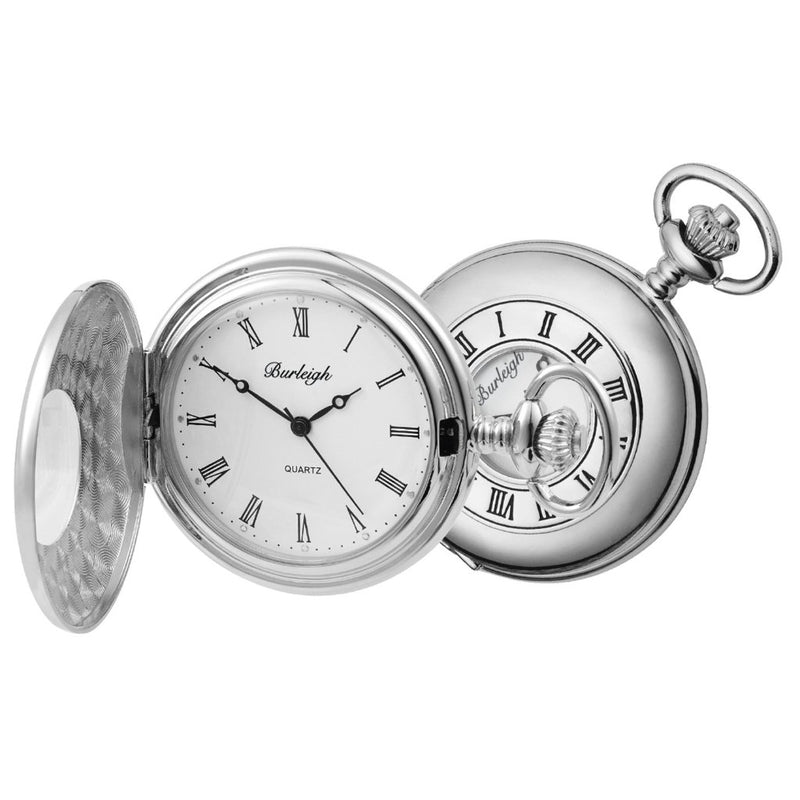 Budget Chrome Half Hunter Pocket Watch by Burleigh CHR1233