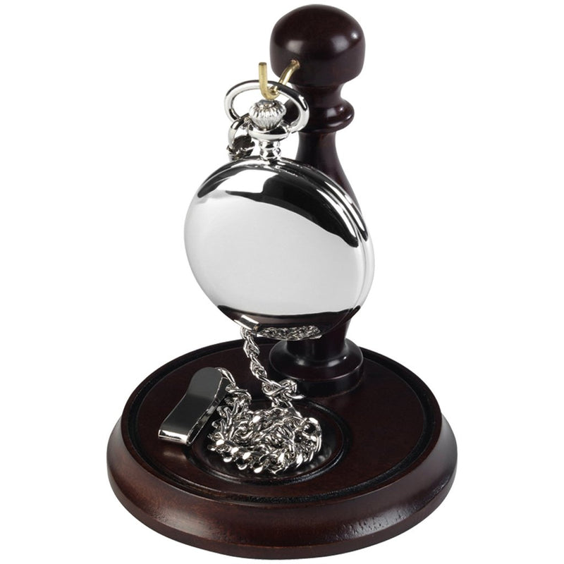 Chrome Full Hunter Pocket Watch by Burleigh complete with Stand