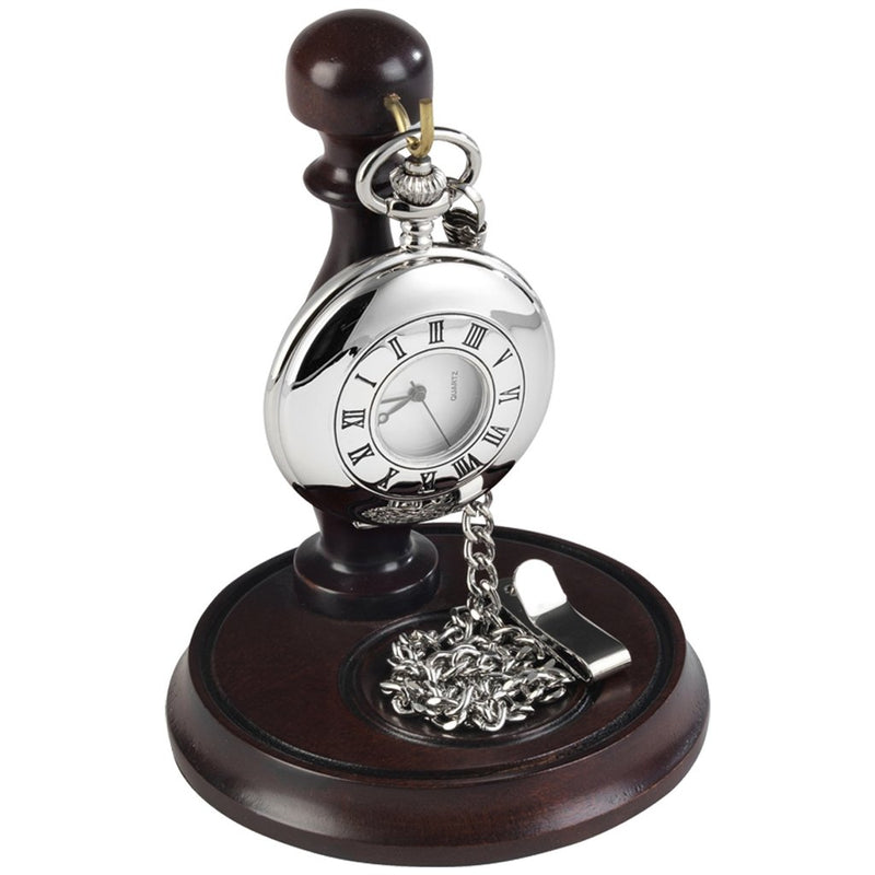 Chrome Half Hunter Pocket Watch by Burleigh with Stand CHR1925