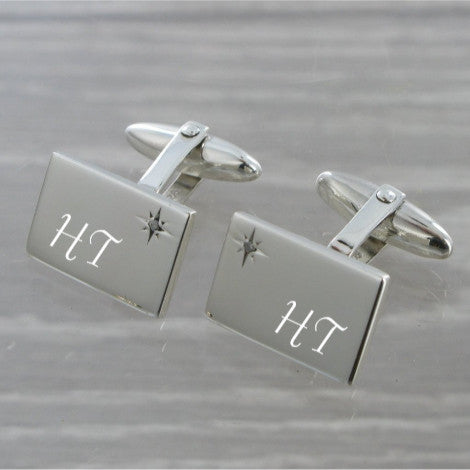 Diamond Set Rectangle Swivel Solid Silver Cufflinks 9267