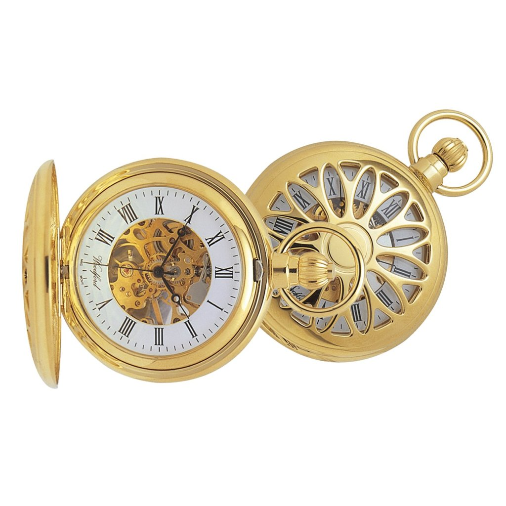 Filagree Skeleton Gold Plated Pocket Watch GP1029