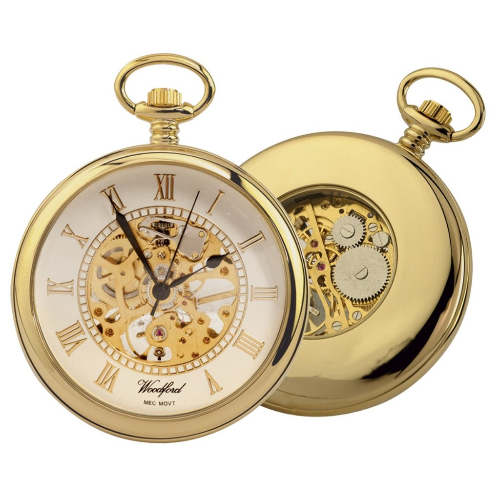 Open Face Pocket Watch Gold Plated with chain GP1030