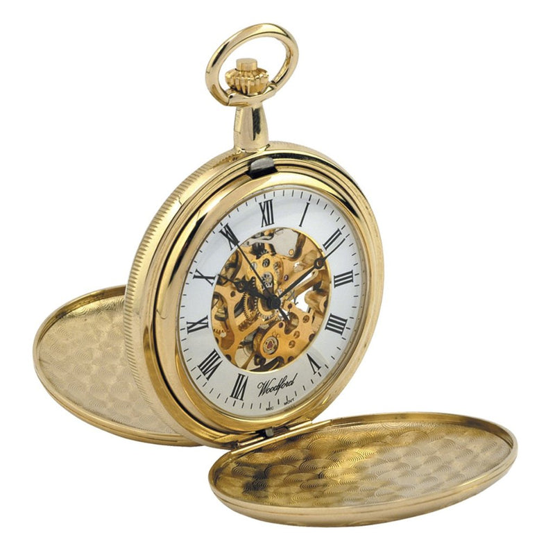 Gold Plated Twin Lid Full Hunter Skeleton Pocket Watch by Woodfords GP1063