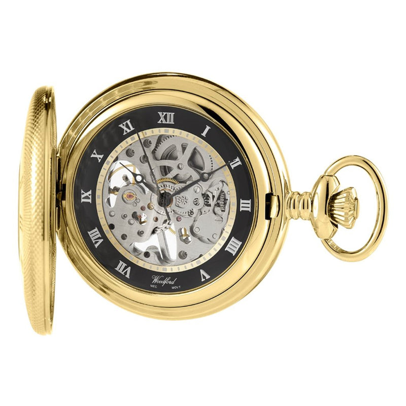 Half Hunter Skeleton Pocket Watch Gold Plated with chain GP1115