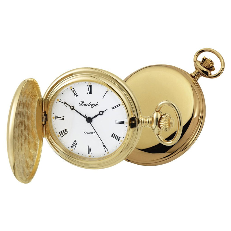 Budget Gold Plated Full Hunter Pocket Watch by Burleigh