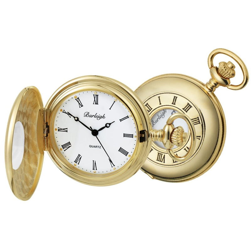 Budget Gold Plated Half Hunter Pocket Watch by Burleigh GP1232