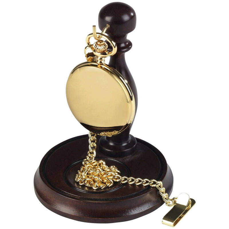 Gold Plated Full Hunter Pocket Watch by Burleigh complete with Stand