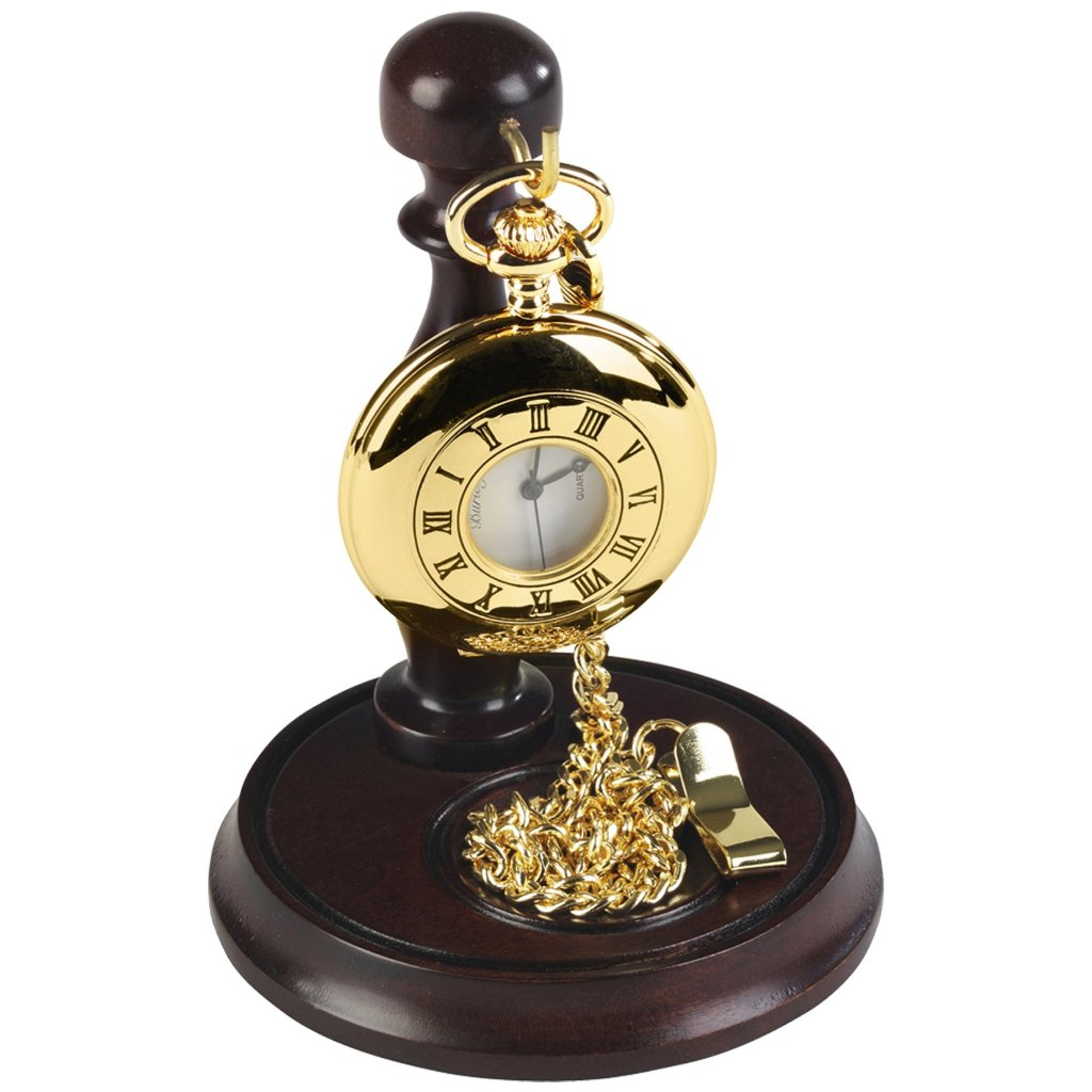 Gold Plated Half Hunter Pocket Watch by Burleigh with Stand GP1926