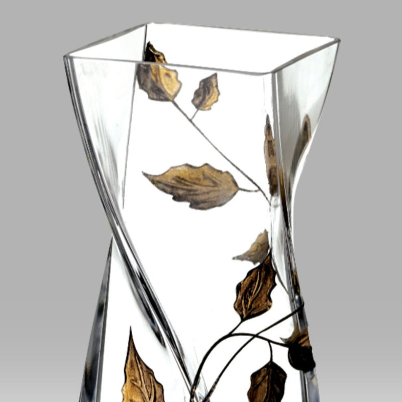 Nobile Gold Leaf Twist Vase - 20cm