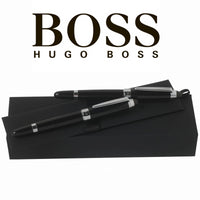 Hugo Boss Icon Fountain & Rollerball Pen Set in Black Lacquer