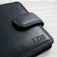 Visconti Heritage HT10 Soft Black Leather Wallet laser engrave initials or name on the front and add a message inside