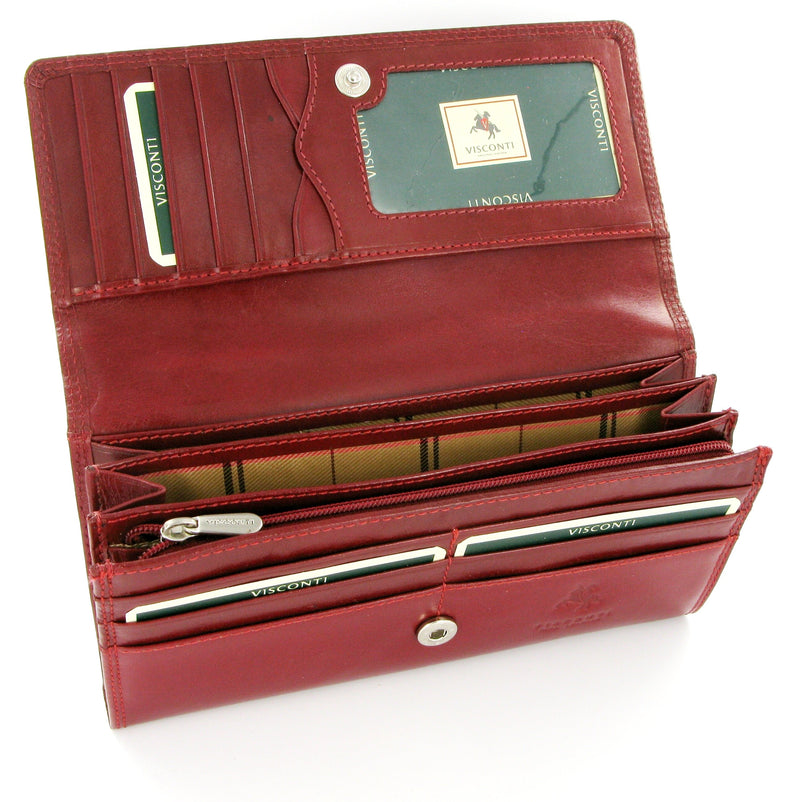 Visconti Monza MZ10 Florence Italian Red Leather Purse