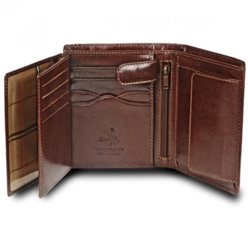 Visconti Monza MZ3 Milan Italian Brown RFID Leather Wallet