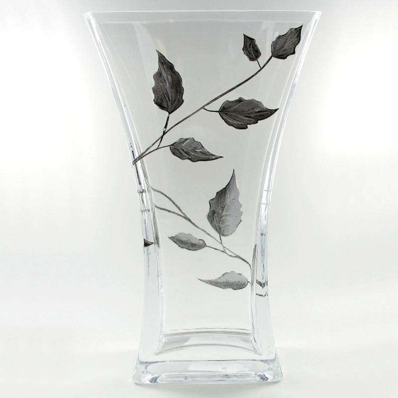 Nobile Silver Leaf Flat Flared Vase - 23cm