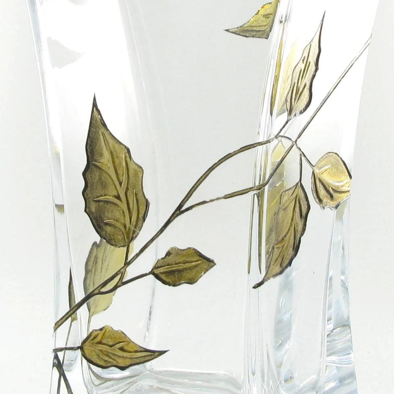 Nobile Gold Leaf Flat Flared Vase - 23cm