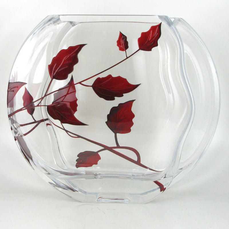 Nobile Ruby Leaf Circle Vase - 16cm
