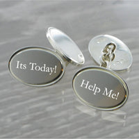 Oval Chained Solid Silver Cufflinks 7398