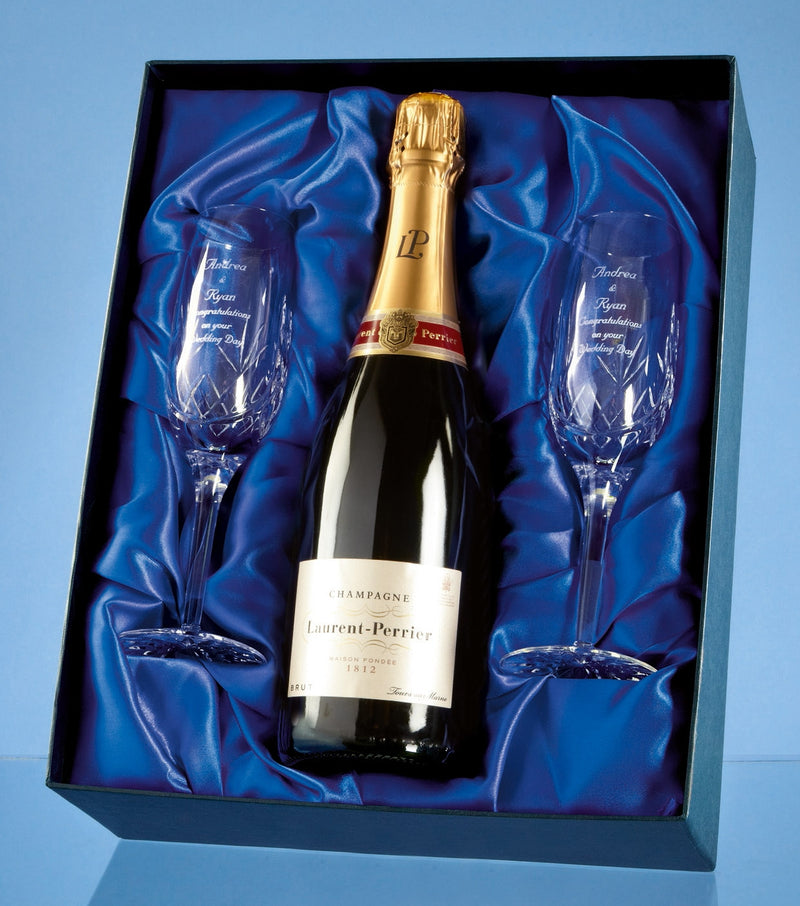 Champagne & Crystal Flutes in Presentation Box