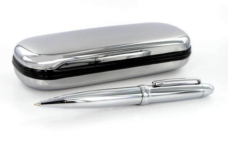 Chrome Pen & Pen Case including free engraving