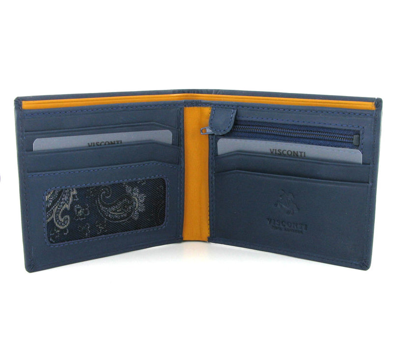 Visconti Parma PM101 Pablo Blue'n'Mustard Soft Leather Wallet