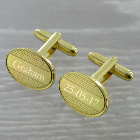 Panelled Oval Swivel Gold Plated Cufflinks 10~65
