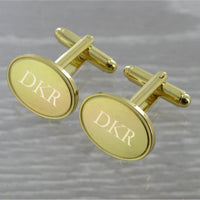 Plain Oval Swivel Gold Plated Cufflinks 10~66
