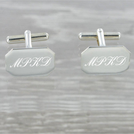 Plain Rectangular Swivel Solid Silver Cufflinks 9239