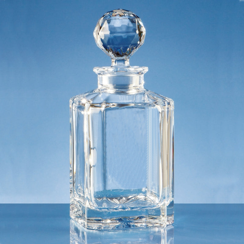 Engraved Whiskey Decanter Plain Crystal in Presentation Box