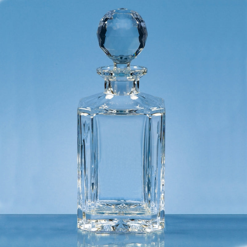 Engraved Whiskey Decanter Cut Crystal in Presentation Box