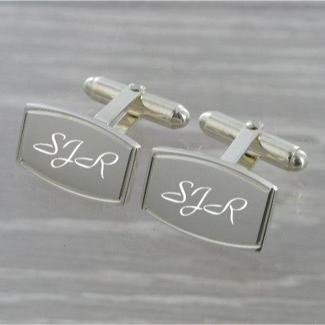 Rectangle Swivel Solid Silver Cufflinks 9186