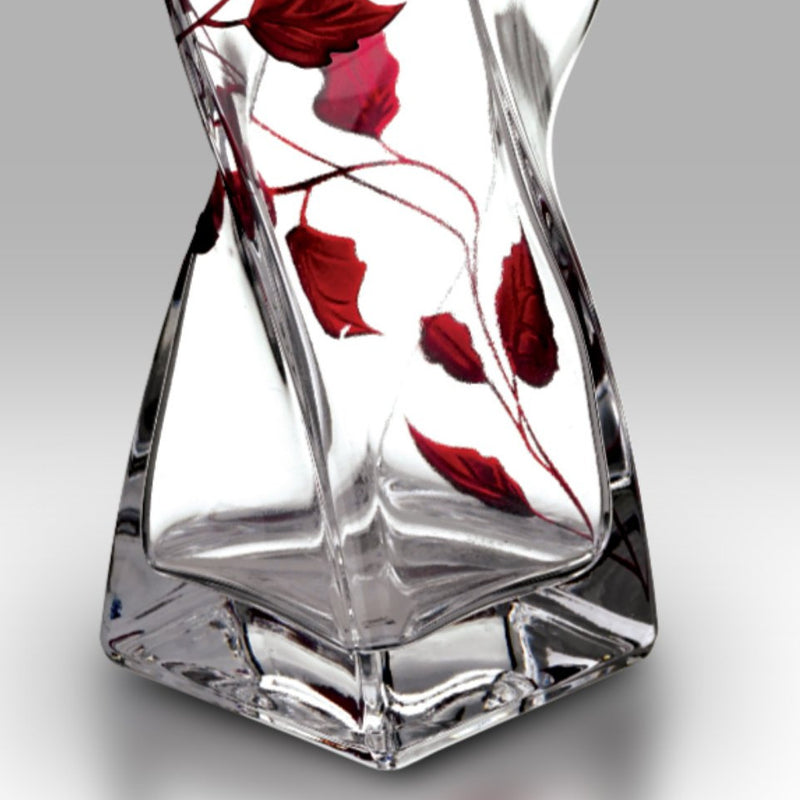 Nobile Ruby Leaf Twist Vase - 20cm