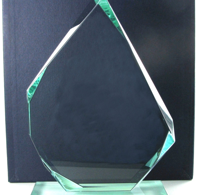 "Swatkins Jade Glass Pyramid Award 8.5"" tall"