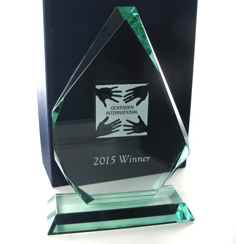 "Swatkins Jade Glass Pyramid Award 9.25"" tall"