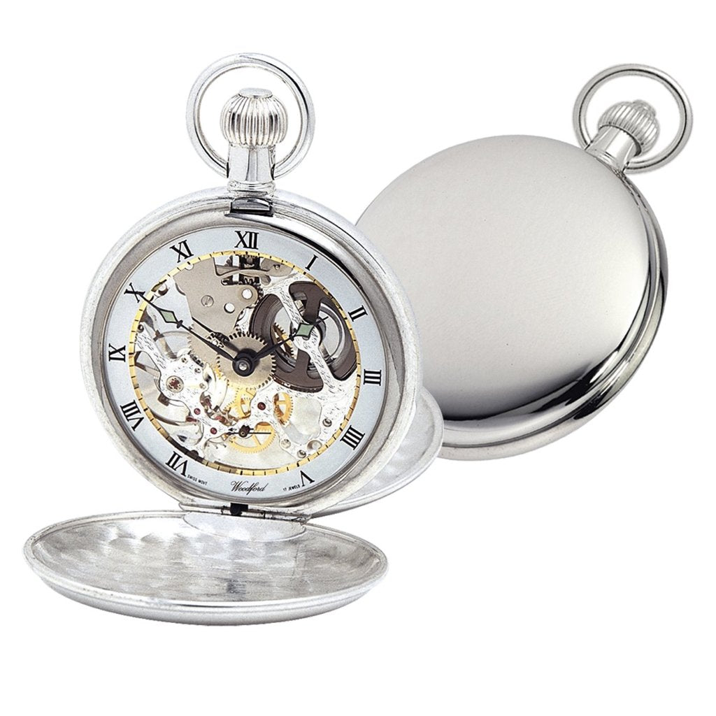 Solid Silver Twin Lid Swiss Made Pocket Watch by Woodfords SIL1066