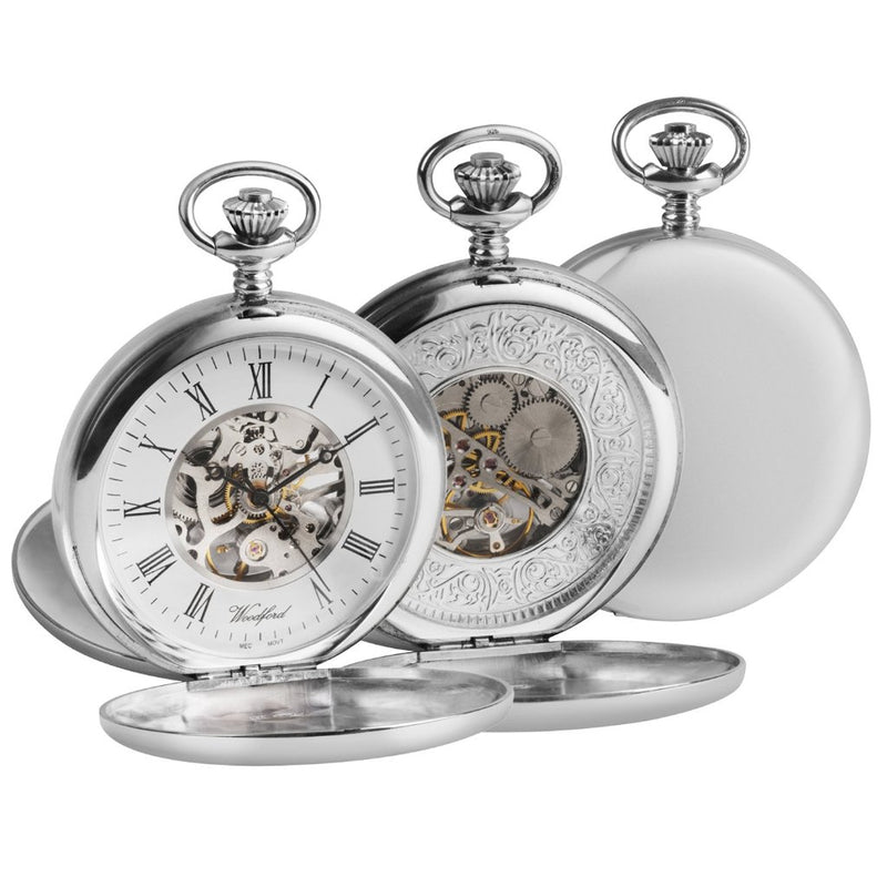 Solid Silver Twin Lid Pocket Watch by Woodfords SIL1097