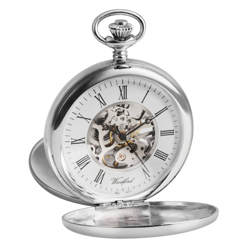 Solid Silver Twin Lid Pocket Watch by Woodfords SIL1104