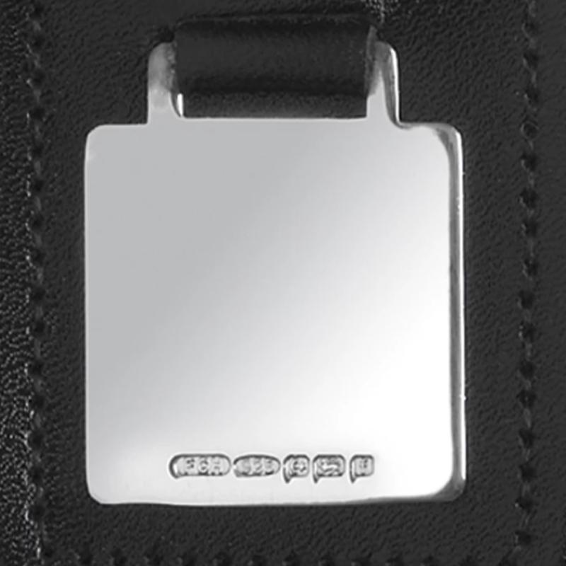 Leather Fob Silver Tag Keyring 7895