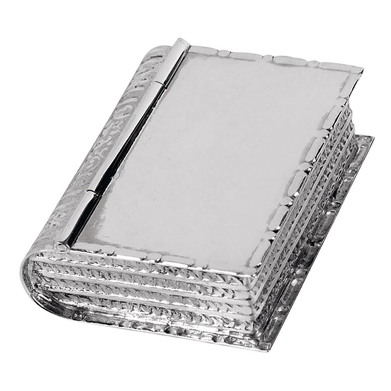 Pill Box Large Book Shape 925 Solid Silver 8825