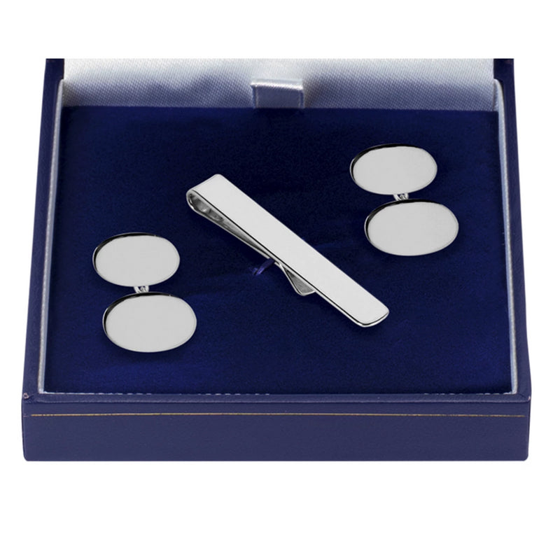 Oval Swivel Solid Silver Cufflinks and Tie Slide 9358