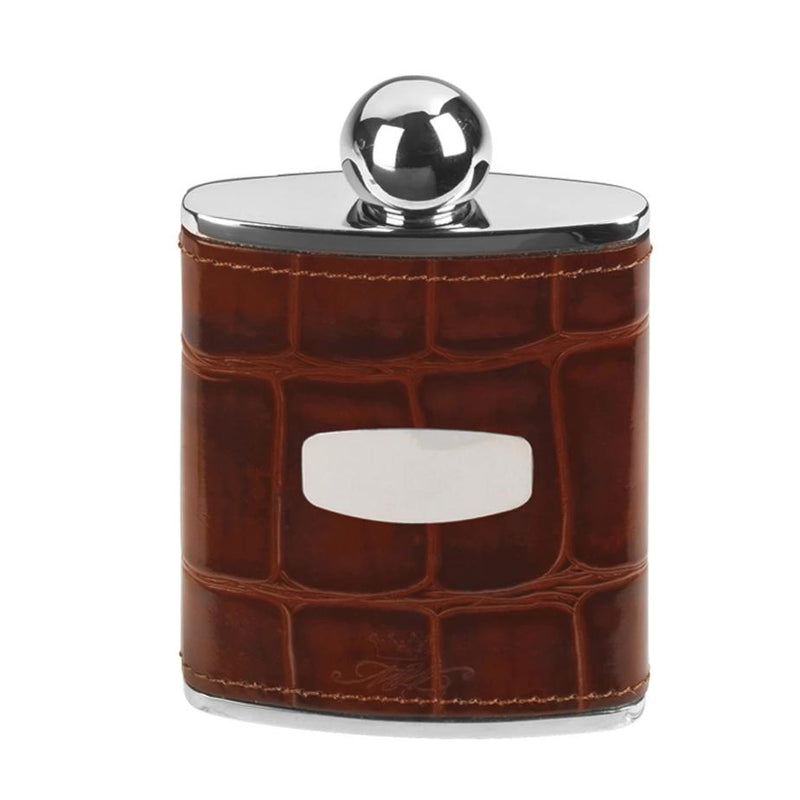 Marlborough of England Hip Flask 3oz Steel & Brown Leather ST5124