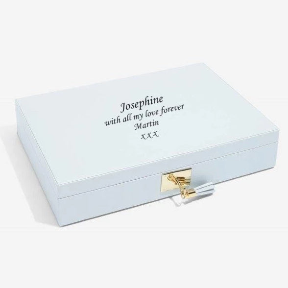 Stackers Powder Blue Leather Jewellery Box Lidded 75445 Personalise the Top with Laser Engraved Message