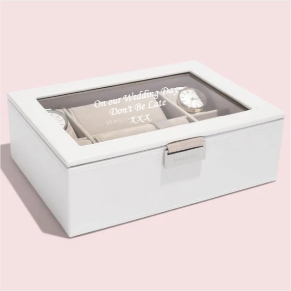 Stackers Classic White Leather Watch Box 73593