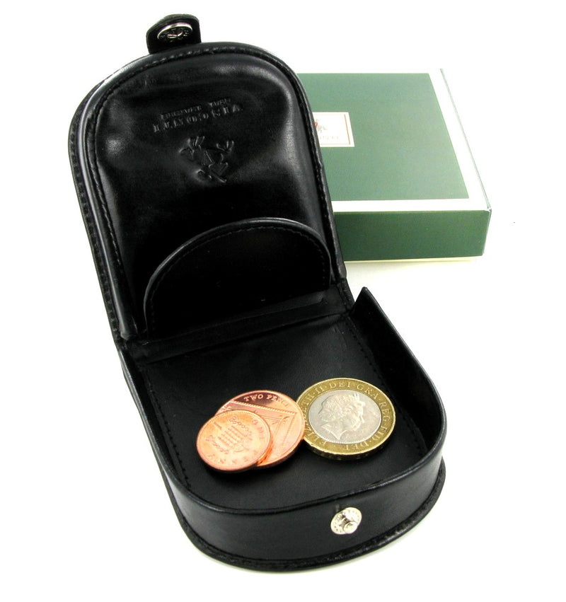 Visconti Coin Tray Purse Black Leather TRY5