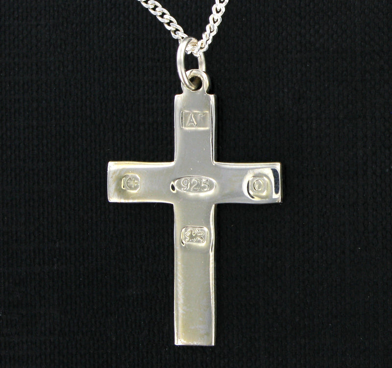 "Feature Hallmarked Cross & 18"" Curb Chain with Presentation Box"