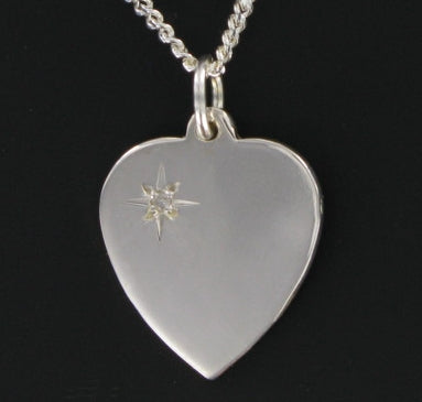 "Diamond Set Heart Pendant with silver 20"" curb chain"