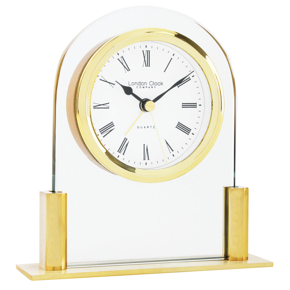 London Clock Gold Arch Top Mini Mantle Clock-17124