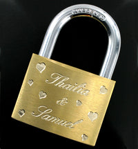 Love Lock Engraved Large Padlock & Keys