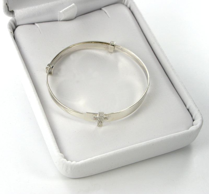 Childs Cross Expanding Bangle with Presentation Box