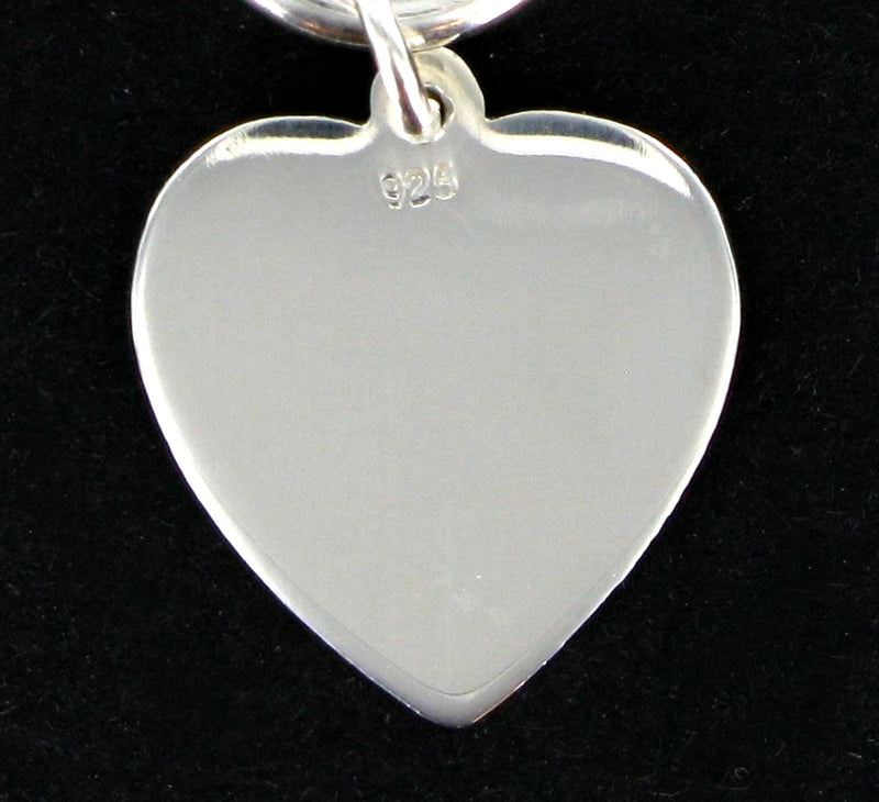 Solid Silver Heart Belcher Necklace 16""