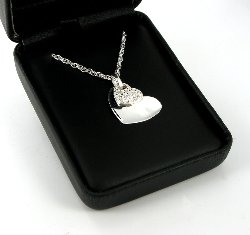 "Double Hearts Pendant & 20"" Prince Charles Chain with Presentation Box"